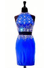Captivating Royal Blue Elastic Woven Satin Zipper High-neck Sleeveless Mini Length Prom Evening Gown Beading