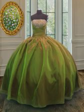 Beauteous Olive Green Ball Gowns Strapless Sleeveless Organza and Taffeta Floor Length Lace Up Sequins Sweet 16 Quinceanera Dress