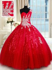 Red Quinceanera Dress Military Ball and Sweet 16 and Quinceanera with Beading and Appliques One Shoulder Sleeveless Lace Up