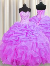 Low Price Floor Length Lace Up 15 Quinceanera Dress Lilac for Military Ball and Sweet 16 and Quinceanera with Beading and Ruffles and Pick Ups