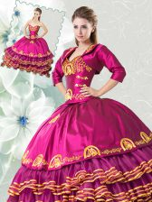 Beauteous Floor Length Fuchsia Quinceanera Gown Organza and Taffeta Sleeveless Embroidery and Ruffled Layers