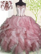 Pink And White Sweetheart Neckline Ruffles Quinceanera Gowns Sleeveless Lace Up