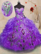 Dynamic Sleeveless Beading and Appliques and Ruffles Zipper Quinceanera Dresses