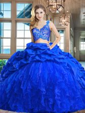 Unique Lace and Ruffles and Pick Ups 15 Quinceanera Dress Royal Blue Zipper Sleeveless Brush Train