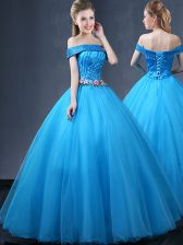 Beautiful Off the Shoulder Baby Blue Tulle Lace Up Vestidos de Quinceanera Sleeveless Floor Length Beading and Appliques