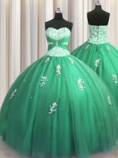 Tulle Sleeveless Floor Length Quinceanera Dress and Beading and Appliques