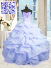 Light Blue Sleeveless Floor Length Beading and Ruffles Lace Up Sweet 16 Dresses