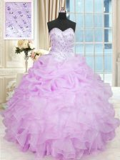 Extravagant Sleeveless Floor Length Beading and Ruffles Lace Up Quinceanera Gowns with Lilac