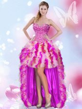 Multi-color Ball Gowns Sweetheart Sleeveless Tulle High Low Lace Up Beading and Ruffles Homecoming Dress
