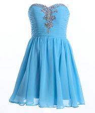 Sweetheart Sleeveless Chiffon Prom Dress Beading Lace Up