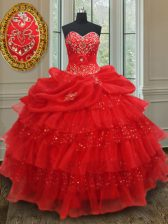 Red Sleeveless Floor Length Beading and Ruffled Layers and Sequins and Pick Ups Lace Up Sweet 16 Quinceanera Dress