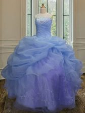 Sleeveless Embroidery and Pick Ups Lace Up Quince Ball Gowns
