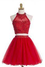 Shining Tulle Halter Top Sleeveless Zipper Beading Homecoming Dress in Red