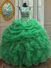 Lace Up Scoop Beading and Ruffles and Pick Ups Quinceanera Gowns Organza Sleeveless