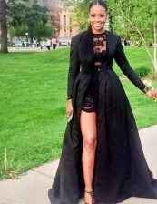 Stunning Scoop Black Long Sleeves Lace Floor Length Prom Evening Gown
