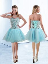 Knee Length Lace Up Prom Dresses Light Blue for Prom and Party with Beading