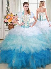 Admirable Organza Sleeveless With Train Vestidos de Quinceanera Brush Train and Beading and Appliques and Ruffles