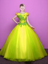 Scoop Short Sleeves Lace Up Sweet 16 Quinceanera Dress Yellow Green Tulle