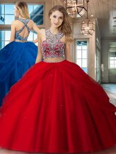 Ideal Red Scoop Criss Cross Beading and Pick Ups 15 Quinceanera Dress Sleeveless