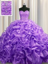 Flare With Train Lace Up 15 Quinceanera Dress Lavender for Military Ball and Sweet 16 and Quinceanera with Beading and Pick Ups Court Train