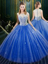 Trendy Royal Blue Sleeveless Tulle Zipper 15 Quinceanera Dress for Military Ball and Sweet 16 and Quinceanera