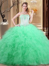 Tulle Sleeveless Floor Length 15th Birthday Dress and Embroidery