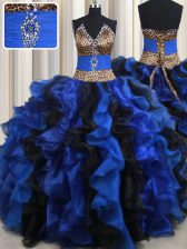 Sleeveless Floor Length Beading and Ruffles Lace Up Sweet 16 Quinceanera Dress with Blue And Black