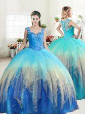 Luxurious Floor Length Multi-color Ball Gown Prom Dress Straps Sleeveless Zipper