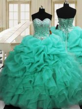Organza Sleeveless Floor Length Quinceanera Dresses and Beading and Pick Ups