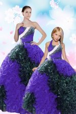 Multi-color Taffeta Lace Up Sweetheart Sleeveless Floor Length Ball Gown Prom Dress Sequins and Pick Ups
