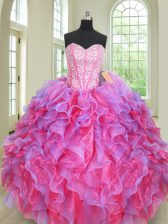 Latest Multi-color Sleeveless Organza Lace Up 15th Birthday Dress for Military Ball and Sweet 16 and Quinceanera