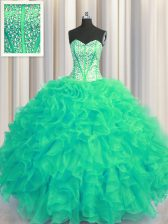 Visible Boning Beaded Bodice Turquoise Organza Lace Up Sweetheart Sleeveless Floor Length Sweet 16 Dress Beading and Ruffles