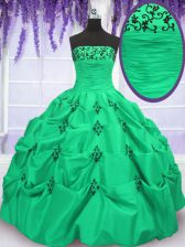 Shining Sleeveless Floor Length Embroidery and Pick Ups Lace Up Quinceanera Dress