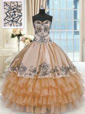 Ball Gowns Quinceanera Dress Orange Sweetheart Taffeta Sleeveless Floor Length Lace Up