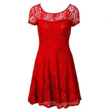 Scoop Red Short Sleeves Tea Length Lace Side Zipper Prom Gown