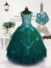 Best Teal Straps Lace Up Beading and Belt Kids Formal Wear Sleeveless