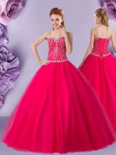 Pretty Hot Pink Sweetheart Lace Up Beading Quinceanera Gowns Sleeveless