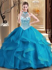 Beauteous Halter Top Blue Sleeveless With Train Beading and Ruffles Lace Up Vestidos de Quinceanera