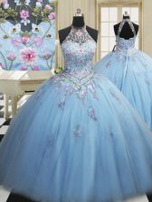 Light Blue Lace Up High-neck Embroidery Sweet 16 Dress Tulle Sleeveless