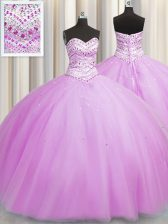 Bling-bling Really Puffy Floor Length Lace Up 15th Birthday Dress Lilac for Military Ball and Sweet 16 and Quinceanera with Beading