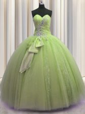 Sequins Bowknot Yellow Green Sleeveless Tulle Lace Up Vestidos de Quinceanera for Military Ball and Sweet 16 and Quinceanera