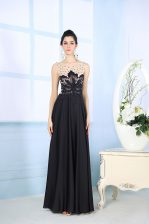 Fine Scoop Satin Sleeveless Floor Length Prom Evening Gown and Beading