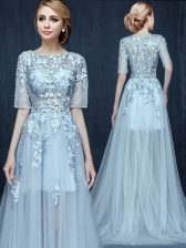 Custom Designed Light Blue Dress for Prom Prom with Appliques Scoop Half Sleeves Brush Train Zipper