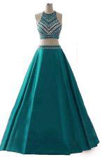 Scoop Beading Prom Gown Dark Green Zipper Sleeveless Floor Length