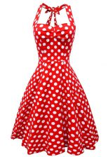 Stylish White And Red Homecoming Dress Prom and Party with Pattern Scoop Sleeveless Backless