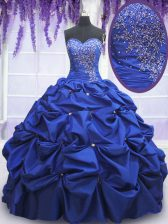 Adorable Royal Blue Sleeveless Floor Length Beading and Pick Ups Lace Up Quinceanera Dresses