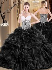 Fitting Black Sweet 16 Quinceanera Dress Military Ball and Sweet 16 and Quinceanera with Ruffles Sweetheart Sleeveless Lace Up