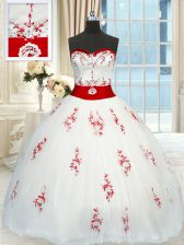 Floor Length White Sweet 16 Dress Sweetheart Sleeveless Lace Up