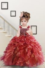 Straps Sleeveless Lace Up Kids Pageant Dress Watermelon Red Organza