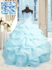 Suitable Baby Blue Sleeveless Beading and Ruffles Floor Length 15 Quinceanera Dress